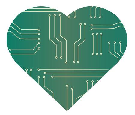 day: microchip in heart shape vector illustration