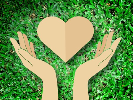 hand holding heart love the nature symbol Grass background Stock Photo