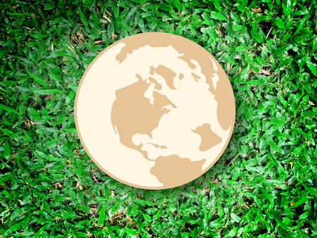 paper background: save the world symbol on Grass background Stock Photo