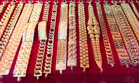 gold necklace at the gold store background
