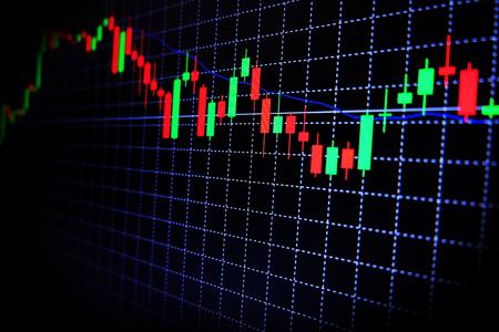 Voorraad Forex groene en rode grafiek met zwarte achtergrond, Forex markt, handel.