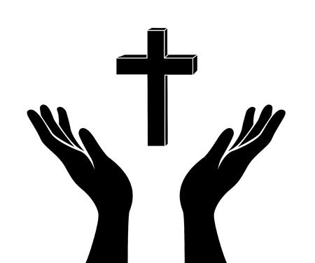 mano y el signo de cruz de Jesucristo