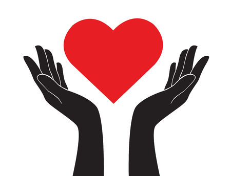 A hands holding heart art vector illustration.