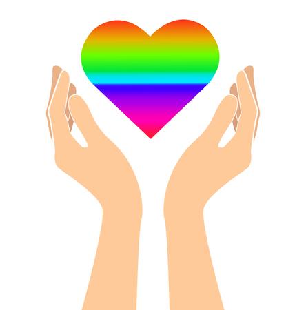 hands holding rainbow heart signs art vector