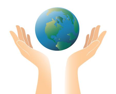 世界色のベクトル図を両手