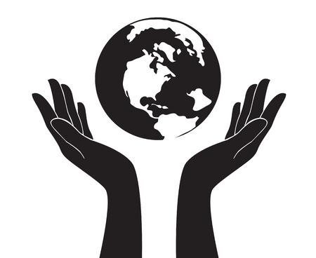 A hands holding world color vector illustration. Stock fotó - 87617653