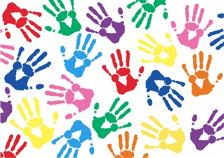 Colorful Hand prints background vector illustration..