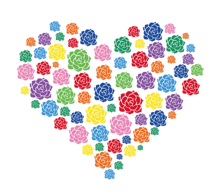 colorful flower in heart vector Illustration