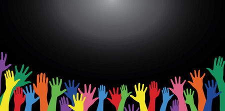 all colorful hands up and background art vector