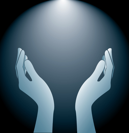 technology hands holding and lighting background vector