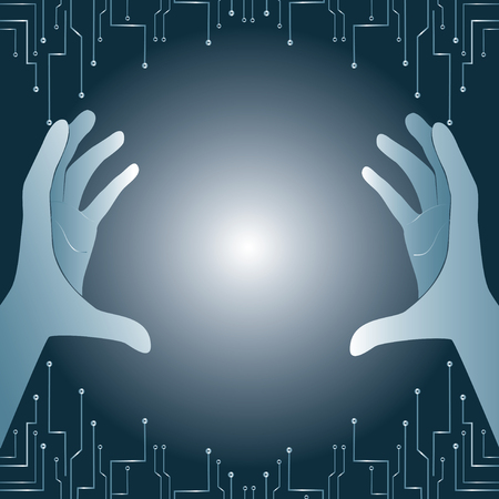 gray hands holding and lighting technology art background vector
