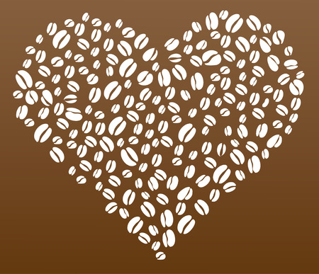 Coffee beans in heart shape vector