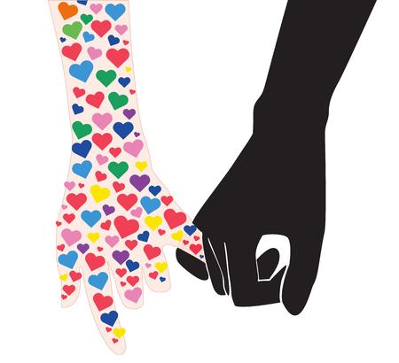 dedo meÑique: promesa meñique, mano que sostiene muchos vector de línea de mano en la mano Vectores