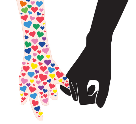 pinky promise , hand holding many heart in hand line  vector