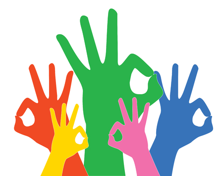 Colorful hands gesturing an okay sign. Illustration
