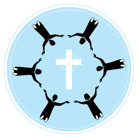 easter cross: group of people holding hands with pray to God