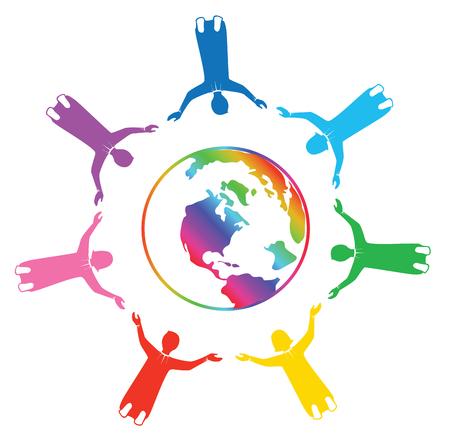 Grupo de personas del arco iris tomados de la mano para el mundo con amor