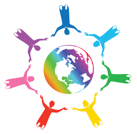 Rainbow group of people holding hands for the world with love Illustration