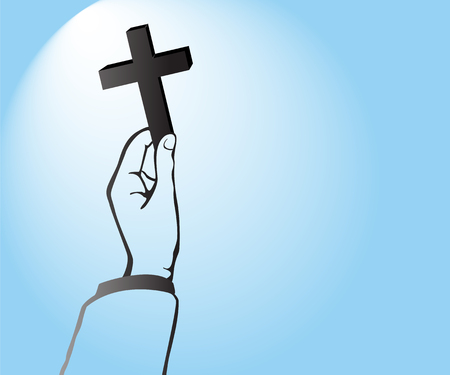 Hand holding a cross vector Illustration