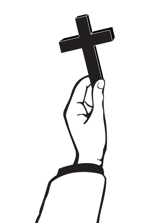 worship praise: Hand holding a cross vector Illustration