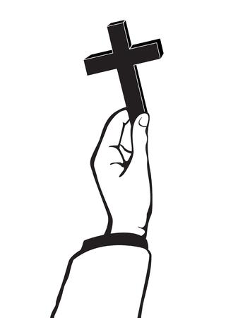 Hand holding a cross vector Illustration