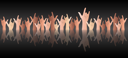 reflect: All hands up love sign reflect and black background vector