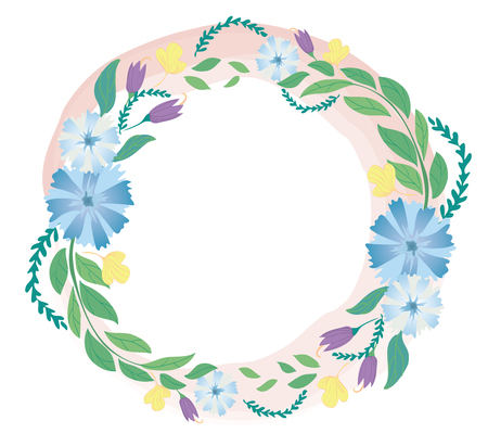 Pastel flower crown and space background vector Illustration