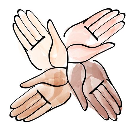 modern business: Hands together. Illustration