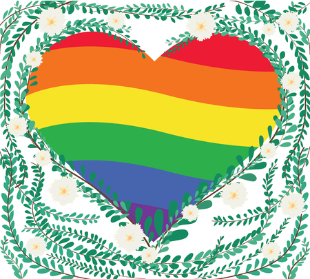 Heart shape in green pastel leaves and Mexican daisy design border, with LGBT symbol, rainbow heart inside.
