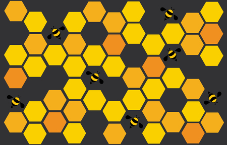 hexagon bee hive design art and space background vector Illustration