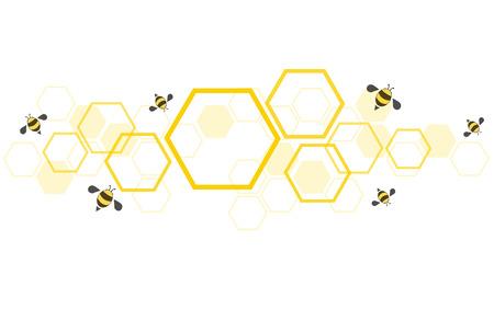 hexagon bee hive design background vector