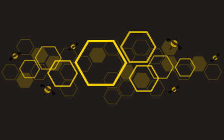 hexagon bee hive design background vector