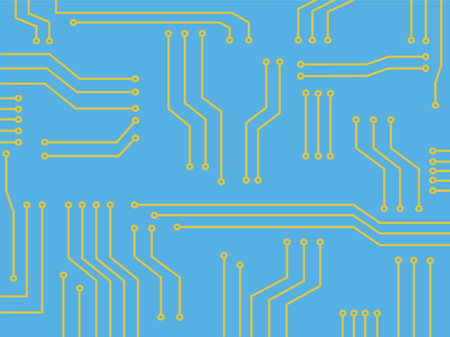 Microchip banner technology symbol abstract background Illustration