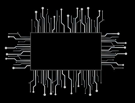 microchip box technology line background Illustration
