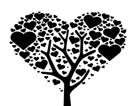 tree of heart , love tree symbol vector