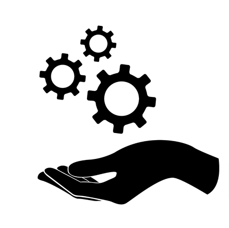 cerebro blanco y negro: hand holding gear , engineer symbol