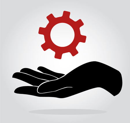 Hand holding gear , engineer symbol Illustration