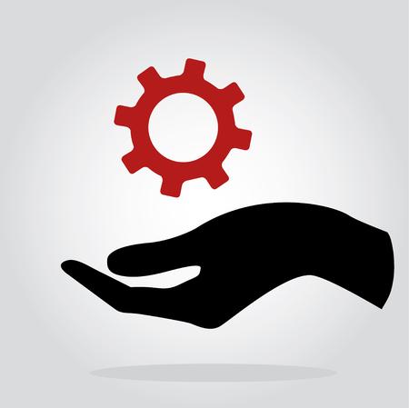 Hand holding gear , engineer symbol Illustration
