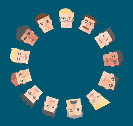 on top of the world: People cartoon around the empty circle background vector