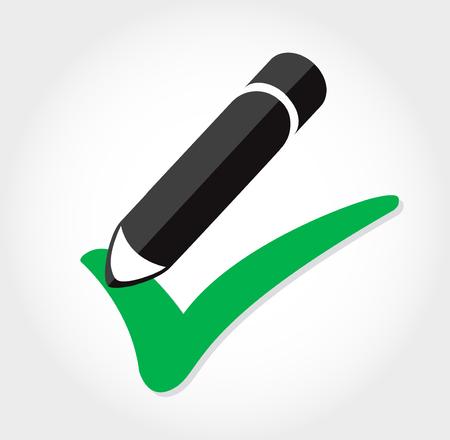 True icon vector , pencil writing true icon Illustration