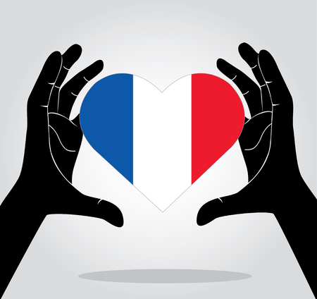 french culture: Hands holding French flag , pray for French vector icon Illustration