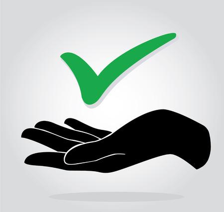 hand holding check icon symbol Çizim