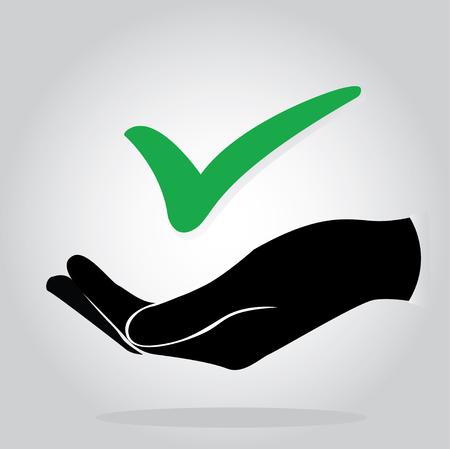 hand holding check icon symbol Illustration
