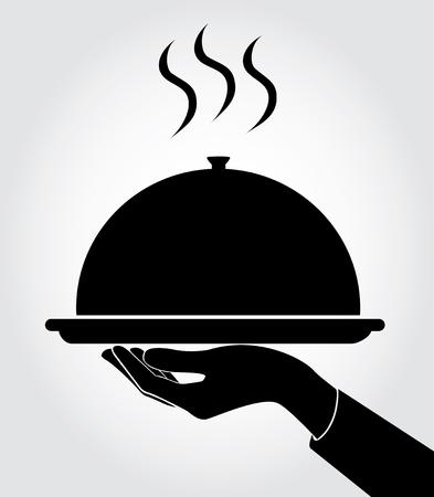 ウェイターウェイトレスのアイコンを提供、ベクトルを皿  イラスト・ベクター素材