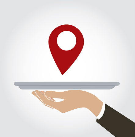 waiter serve Location icon , check in at restaurant