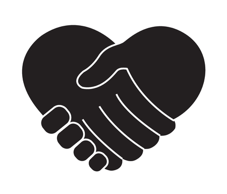 Holding hands in heart shape icon.