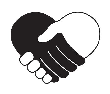 Main dans la main en icône de forme de coeur Vecteurs