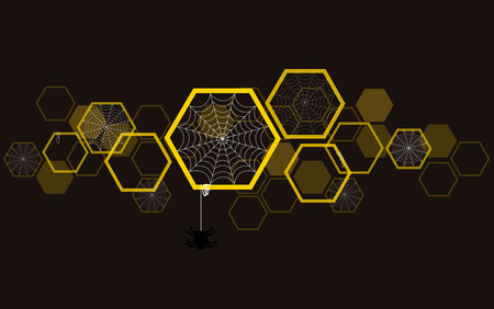 Spider web in hexagon background , Halloween background