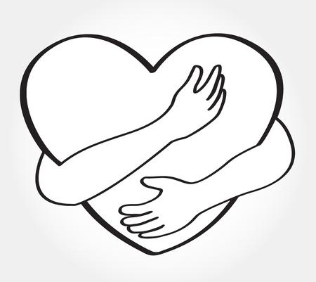 abrazar corazón vector , abrazar a otro , amor te mismo