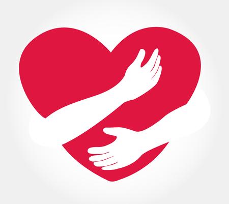 Hugging heart vector , hug yourself , love yourself Stock Illustratie
